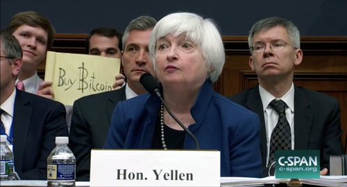 Bitcoin Photobombers Crashed Janet Yellen's Fed Testimony—and Got Paid $10,000