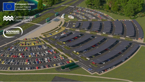 UK's 'largest solar carport' – with additional storage – planned for St Ives Park & Ride