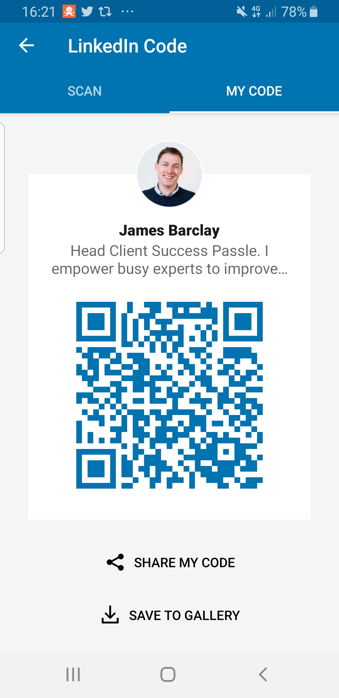 LinkedIn QR code makes it easy to connect at events, James Barclay