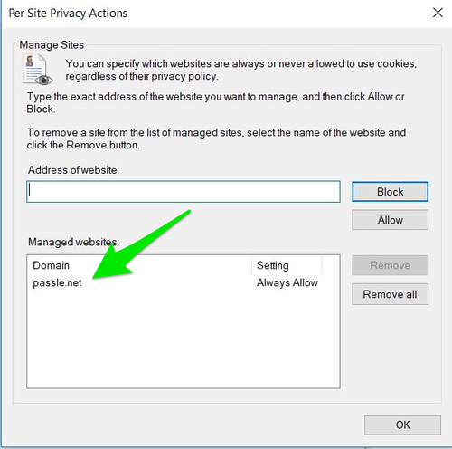 How to enable Passle from your cookie settings - Internet Explorer