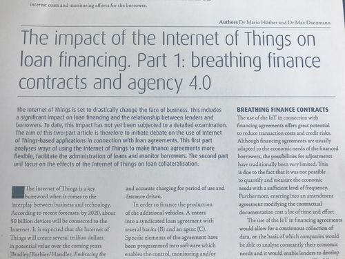 The impact of the Internet of Things on loan financing (JIBLF publications)