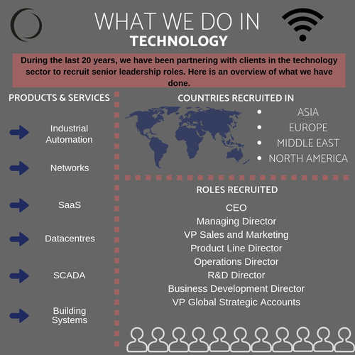 What do we do in Technology? A simple infographic to illustrate 20 years' experience in the industry.