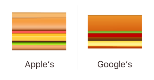 Hamburger emojis: the cheese goes above the patty
