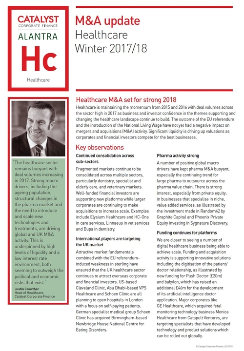 Healthcare M&A set for strong 2018