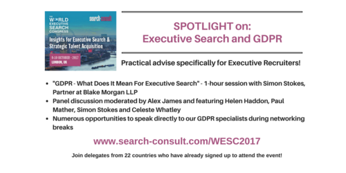 SPOTLIGHT on GDPR at the Upcoming World Executive Search Congress
