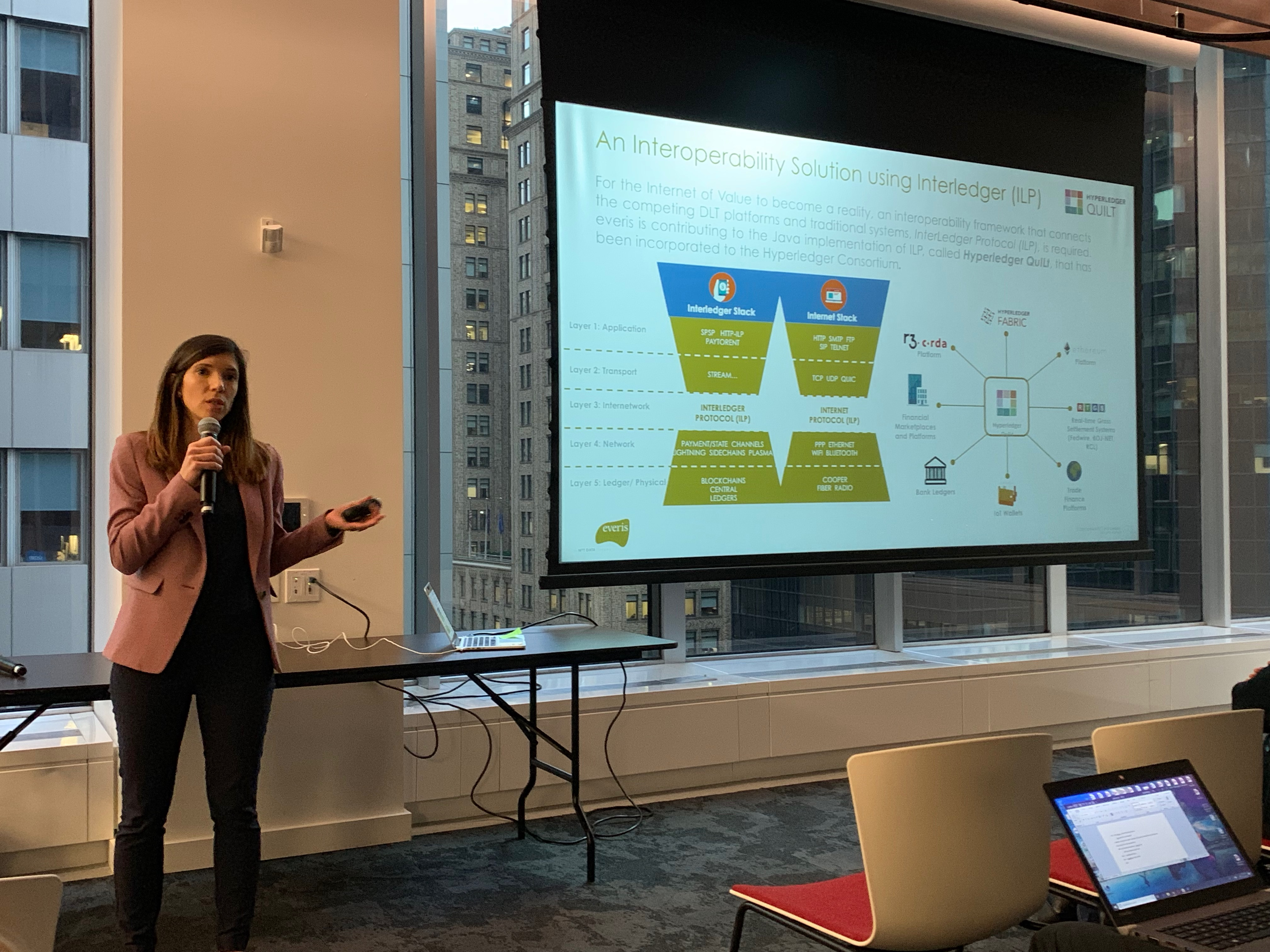 Helena Marques presenting the current status of the Hyperledger QuILt and InterLedger Protocol initiatives