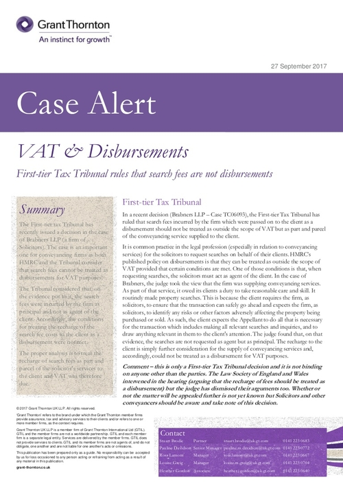 VAT case alert - Search fees ruled not out of scope for VAT