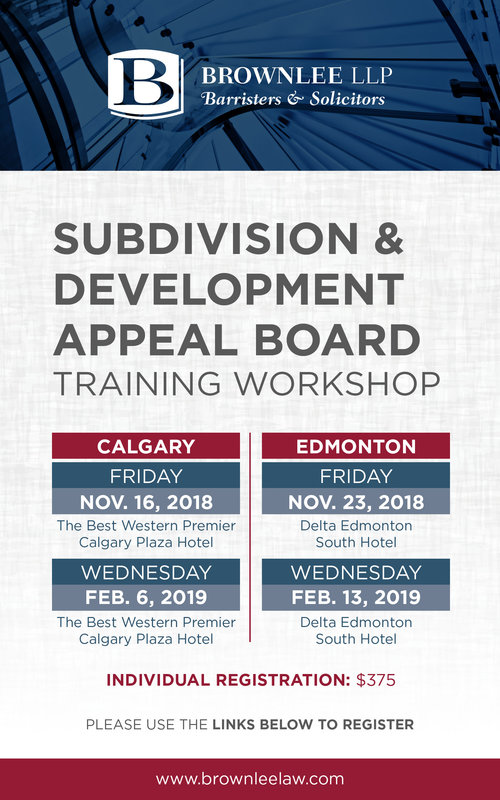 Brownlee LLP presents: Subdivision and Development Appeal Board Training Workshop