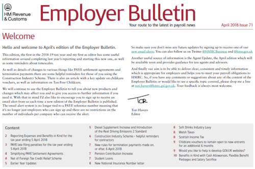 April 2018 Employer Bulletin