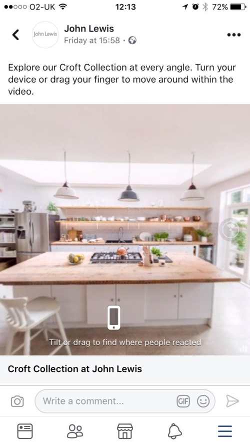 John Lewis has become the first UK retailer to trial 360 advertising on Facebook