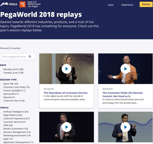 PegaWorld 2018 replays - online now