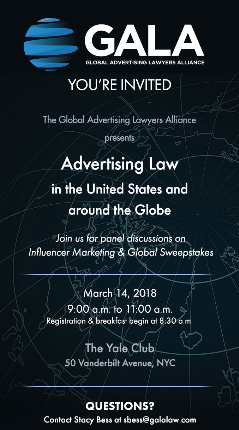 Global Advertising Lawyers Alliance to Host Advertising Law Seminar in NYC