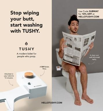 MTA Rejects Ads From Tushy, a Bidet Company