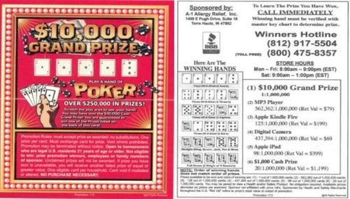 Scratch Off Sweepstakes Card Triggers Class Action