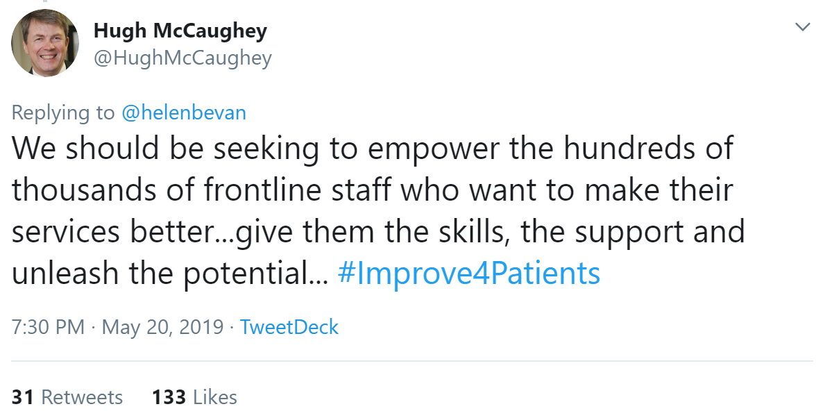 Outputs and outcomes of Hugh McCaughey's #Improve4Patients tweet
