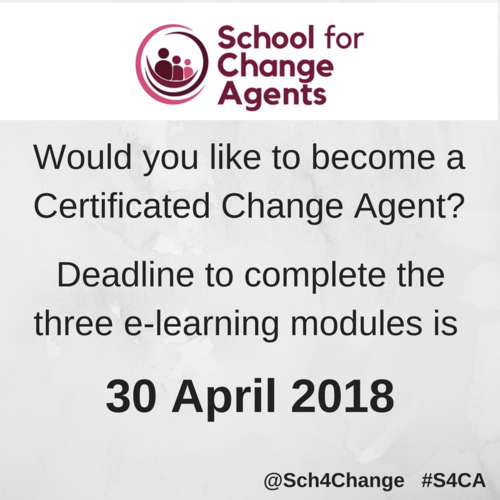 Become a Certificated Change Agent - deadline 30 April
