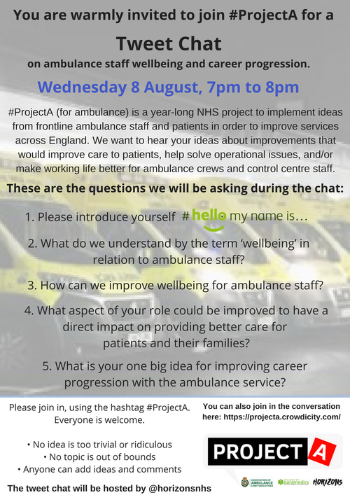 Improving Wellbeing and Career Progression for Ambulance Staff: the third #ProjectA tweet chat